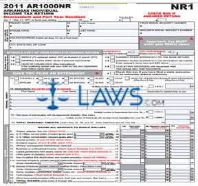 Form AR1000NR Individual Income Tax Return Non Resident