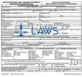 Form ESD-ARK-501 Application for Unemployment Benefits