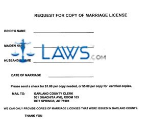 Form Request For Marriage License (Garland County)