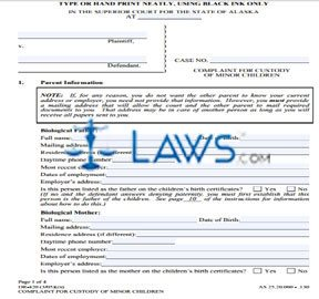 Form DR-420 Complaint for Custody of Minor Children
