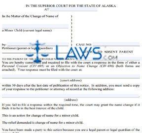 Form CIV-706 Notice to Absent Parent