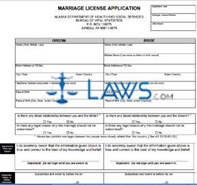 Form Ak Marriage License Application Alaska Forms