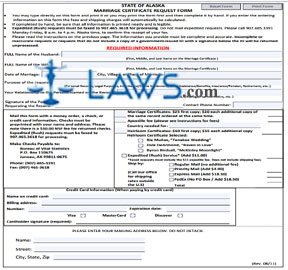 Form AK Marriage Certificate Request Form