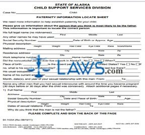 Form 04-1423A Paternity Information Locate
