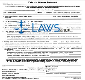 Form 04-1604D Paternity Witness Statement