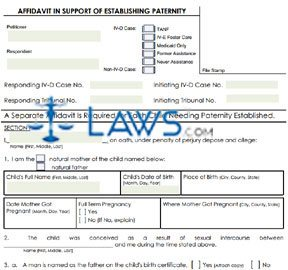 Form 04-1604 Affidavit in Support of Establishing Paternity