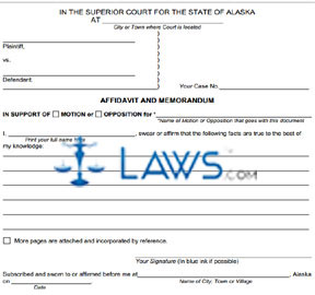 Form SHC-1301 Affidavit and Memorandum