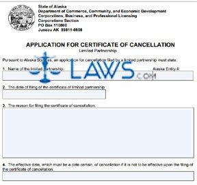 Form 08-467 Application for Certificate of Cancellation