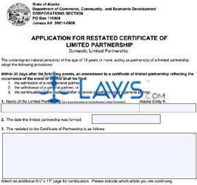 Form 08-474 Application for Restated Cert. of LP