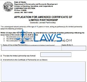 Form 08-447 Application for Amended Certificate of LP