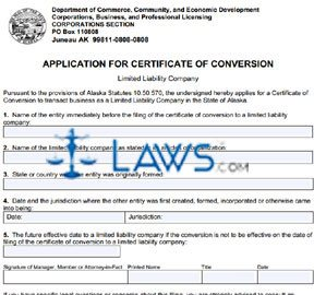 Form 08-431 Application for Certificate of Conversion