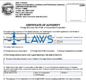 Form 08-410 Application for Certificate of Authority