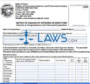 Form 08-636 Notice of Change of Officers/Directors/Shareholders