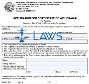 Form 08-470 Application of Certificate of Withdrawal