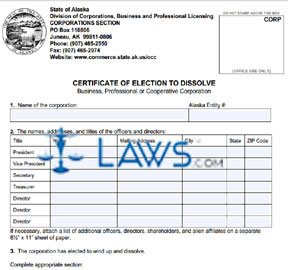 Form 08-460 Certificate of Election to Dissolve