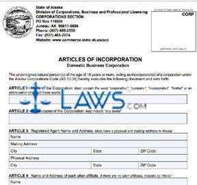 Form 08-400 Articles of Incorporation (online filing)
