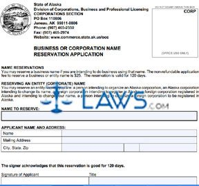 Form 08-580 Business or Corporation Name Reservation Application