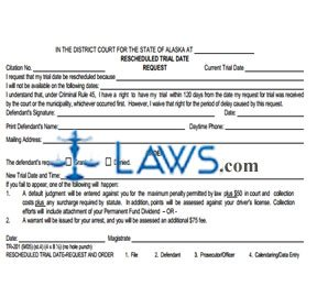 Rescheduled Trial Date - Request & Order All Other Locations