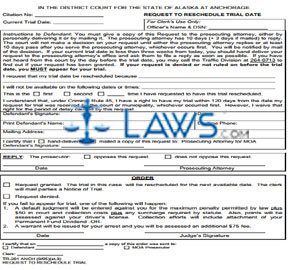 Rescheduled Trial Date - Request & Order Anchorage