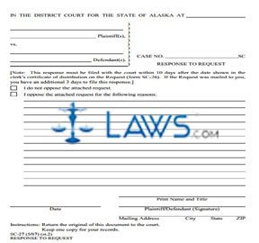 Response to Request (Include 2 copies of signed form when filing with court)