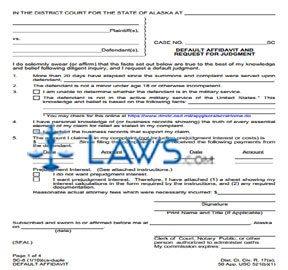 Default Affidavit and Request for Judgment