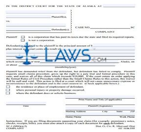Complaint (Include 2 copies of signed form when filing with court)