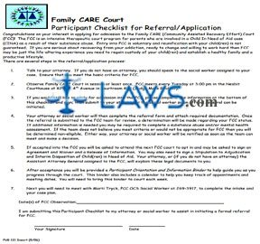 Family CARE Court Participant Checklist for Referral/Application