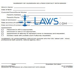 Summary of Guardian Ad Litem Contact With Minor
