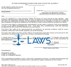 Notice of Rights Upon Detention for Evaluation