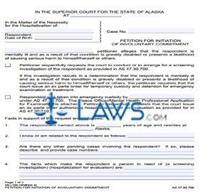 Petition for Initiation of Involuntary Commitment