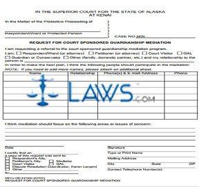 Request for Court Sponsored Guardianship Mediation Kenai