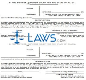 Certificate of Compliance With Victims Rights Act of 1991