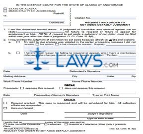 Request and Order to Set Aside Default Judgment