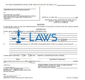 Motion and Affidavit for Stay DMV Appeal to Superior Court