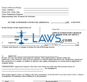 Application for Change of Name for an Adult
