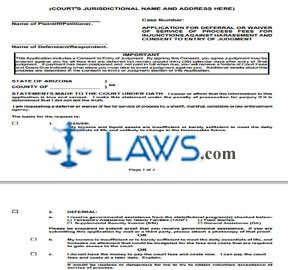 Application for Deferral or Waiver of Service of Process Fees for Injunctions Against Harassment and