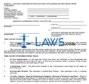 Consent Decree of Dissolution of Marriage (Divorce) With Children