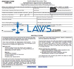 Form 140-IA Individual Income Tax Installment Agreement Request