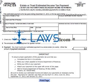 Form 141AZ ES Estate or Trust Estimated Income Tax Payment