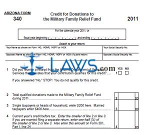 Form 340 Credit for Donations to Military Family Relief Fund
