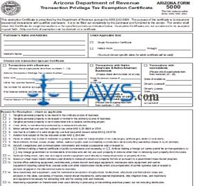 Form 5000 Transaction Privilege Tax Exemption Certificate