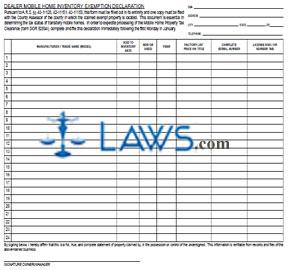 Form 82503 Dealer Moble Home Inventory Exemption Declaration