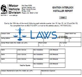 Form 96-0176 Ignition Interlock Installer Report