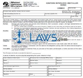 Form 96-0196 Ignition Interlock Installer Bond