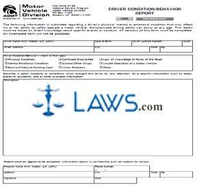 Form 96-0469 Driver Condition/Behavior Report