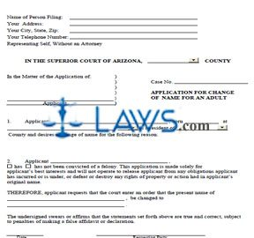 Form Application for Change of Name for an Adult