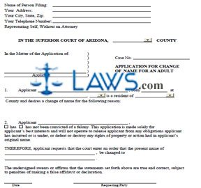 Form AZ Application for Change of Name for an Adult