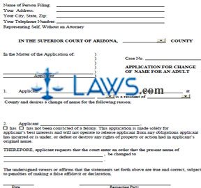 Form AZ Name Change Forms Packet