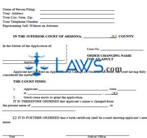 Form AZ Order Changing Name for an Adult
