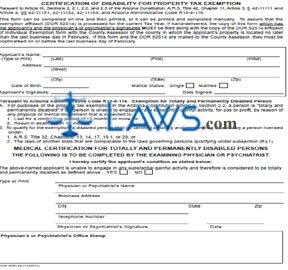 Form Certification of Disability of Property Tax Exemption